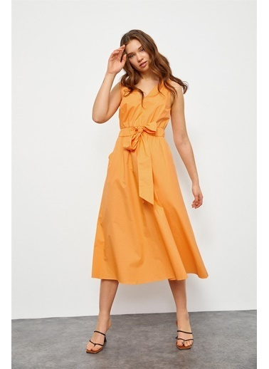Setre Siyah V Yaka Midi Boy Pamuk Elbise Oranj
